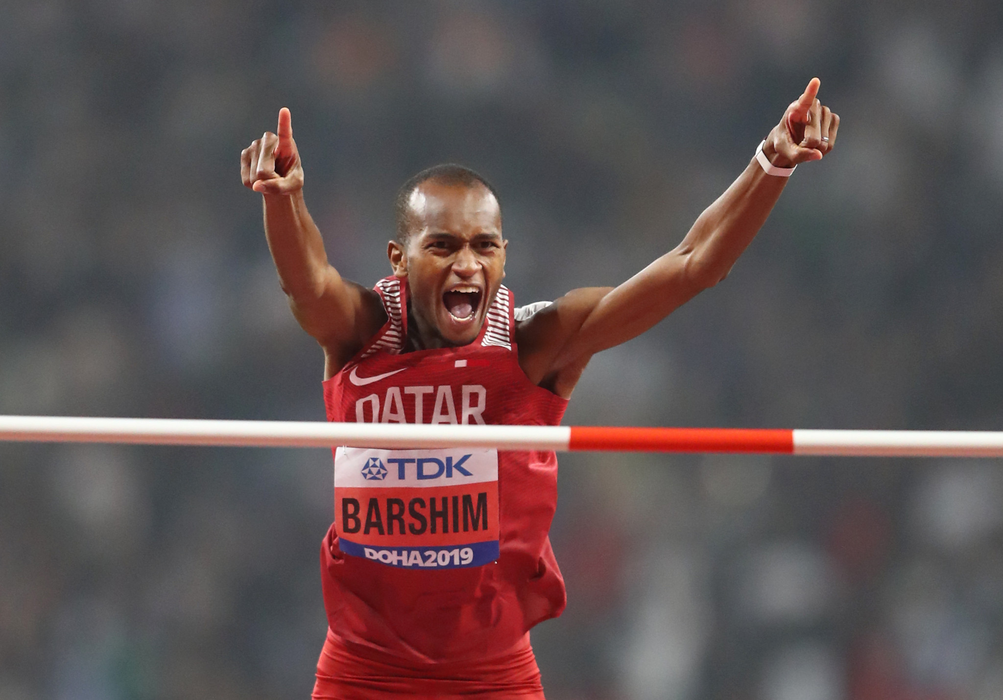 Barshim's emotions came pouring after his winning jump ©Getty Images