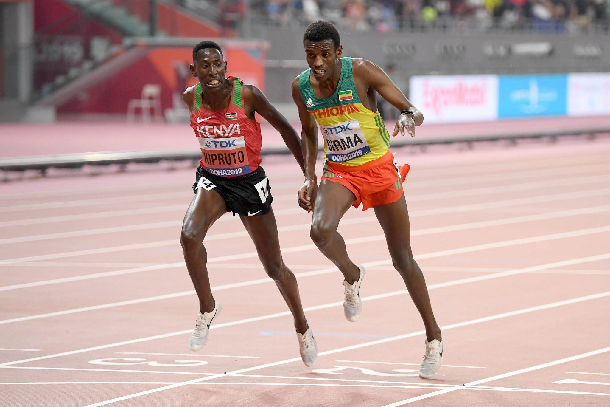 The men's 3,000m steeplechase produced an exciting finish with Kenya's Conseslus Kipruto beating Ethiopia's Lamecha Girma by just one-hundredth of a second ©Getty Images