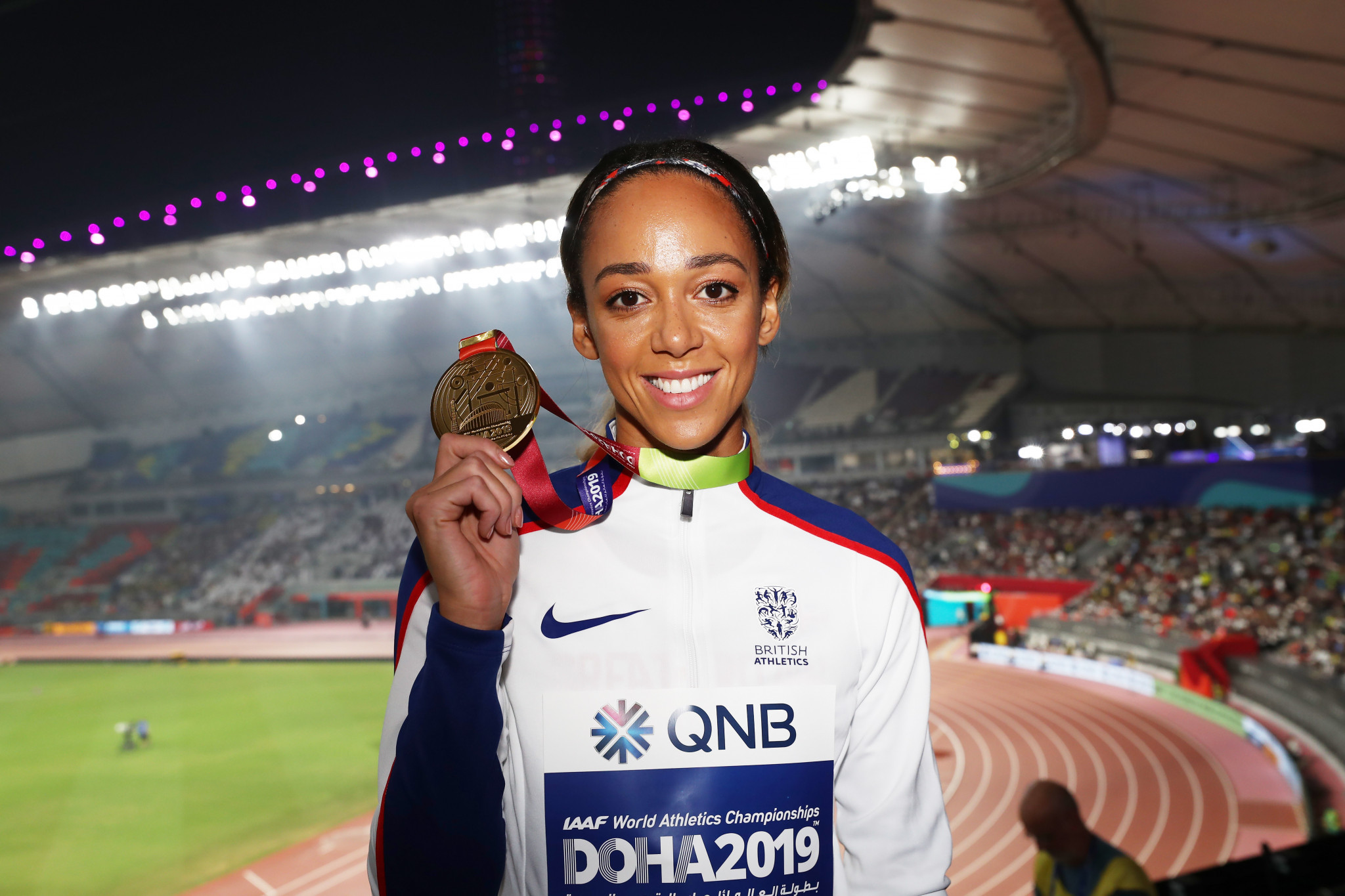 Britain's Katarina Johnson-Thompson received the medal she had won the previous evening in the women's heptathlon ©Getty Images