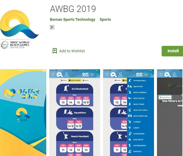 The new app for the ANOC World Beach Games is available on Google and Apple ©Google Play