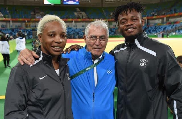 International Judo Federation Refugee Team members Yolande Mabika Bukasa, left, and Popole Misenga, far right, will represent Brazil at the IJF Grand Slam event in Brasilia ©IJF