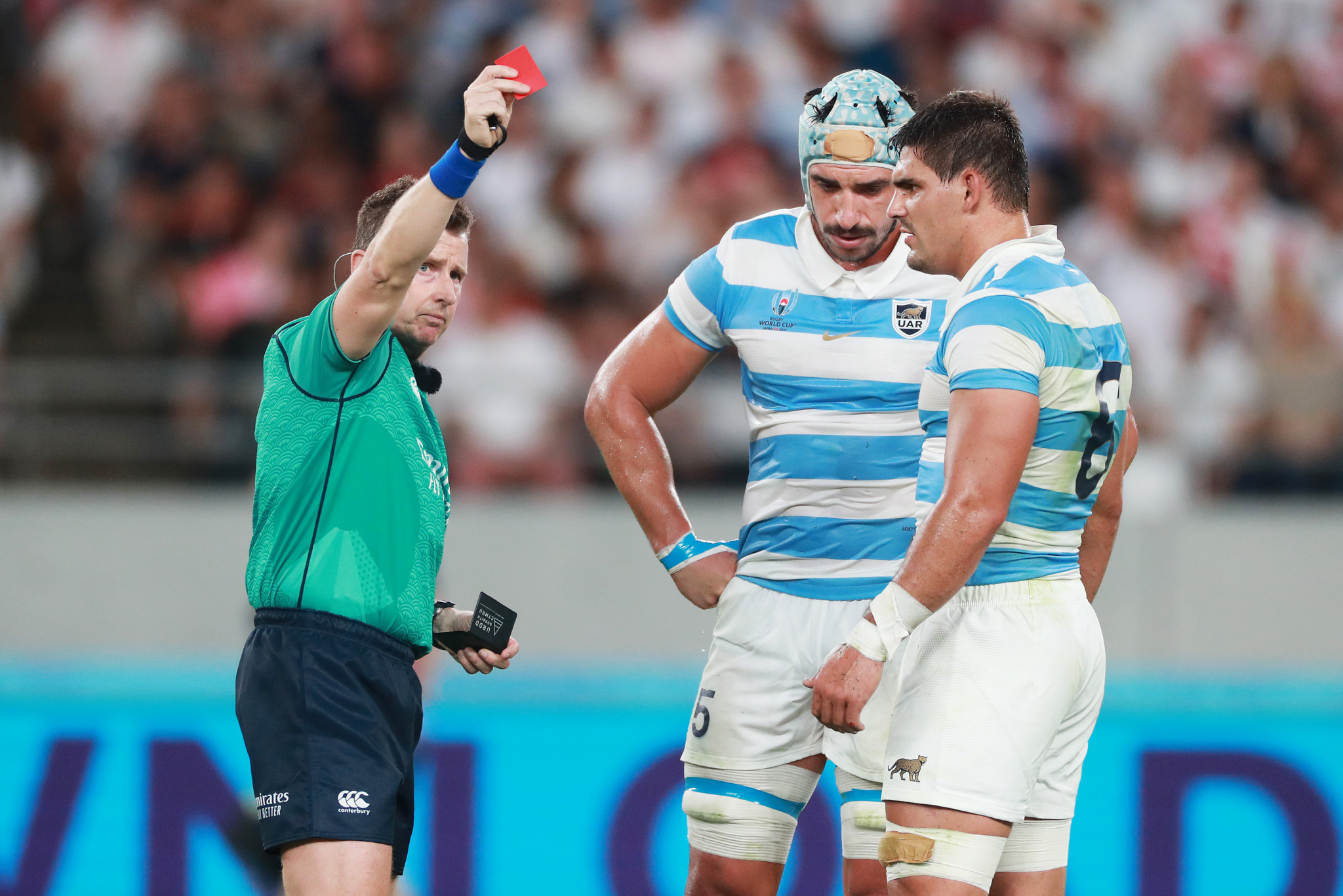 Argentina were in deep trouble once Tomas Lavanini, centre, was sent off ©Getty Images