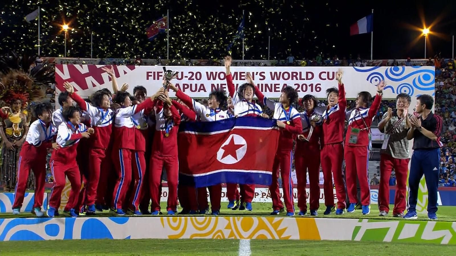 North Korea celebrate winning the FIFA Under-20 Women's World Cup in Papua New Guinea in 2016 but the tournament has since been overshadowed by allegations of corruption ©Getty Images