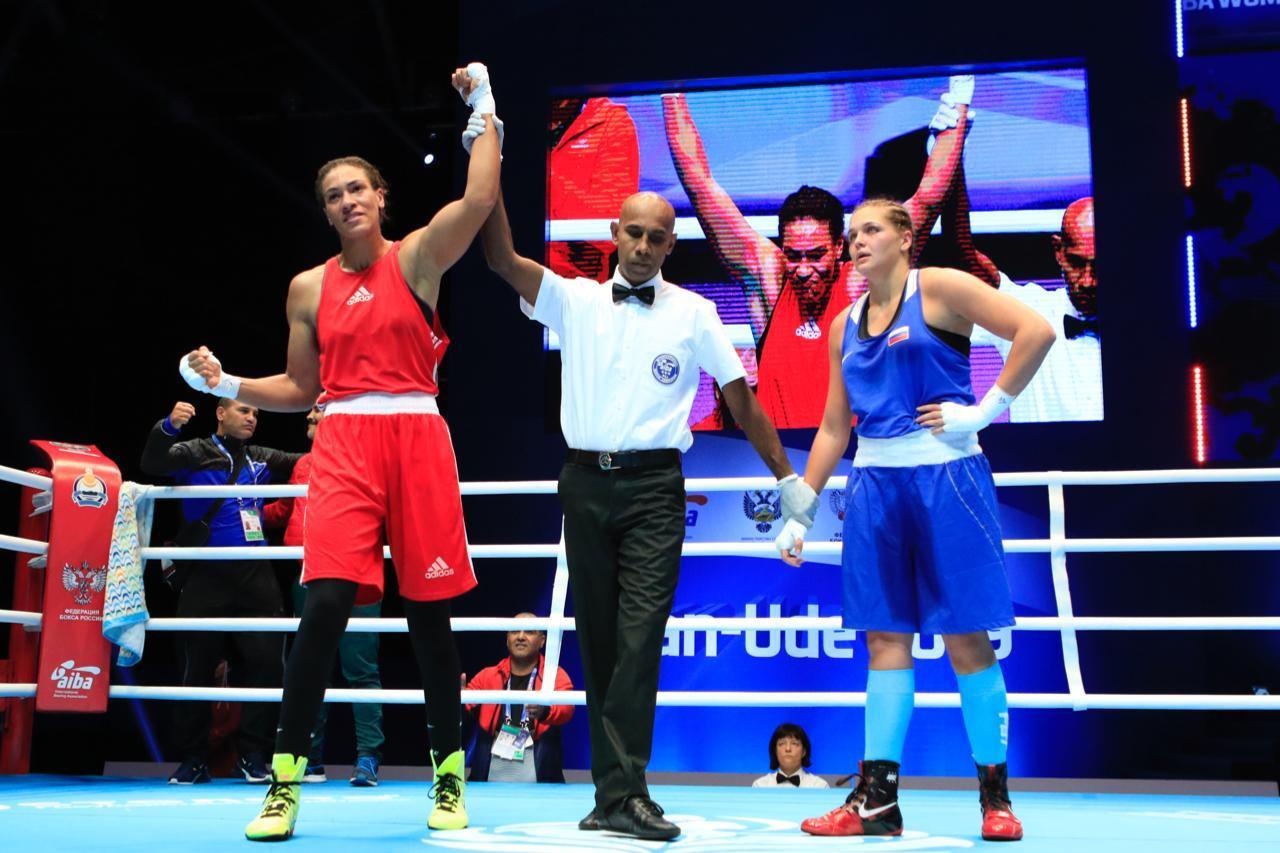 Galina Golovchenko was the first Russian boxer to lose, however, 3-2 to Khadija Mardi of Morocco ©AIBA