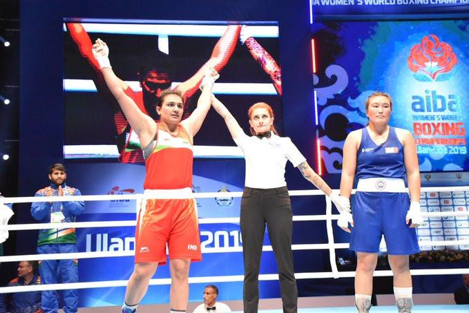 Saweety Boora of India was the unanimous winner against Myagmarjargal Munkhbat of Mongolia ©Twitter