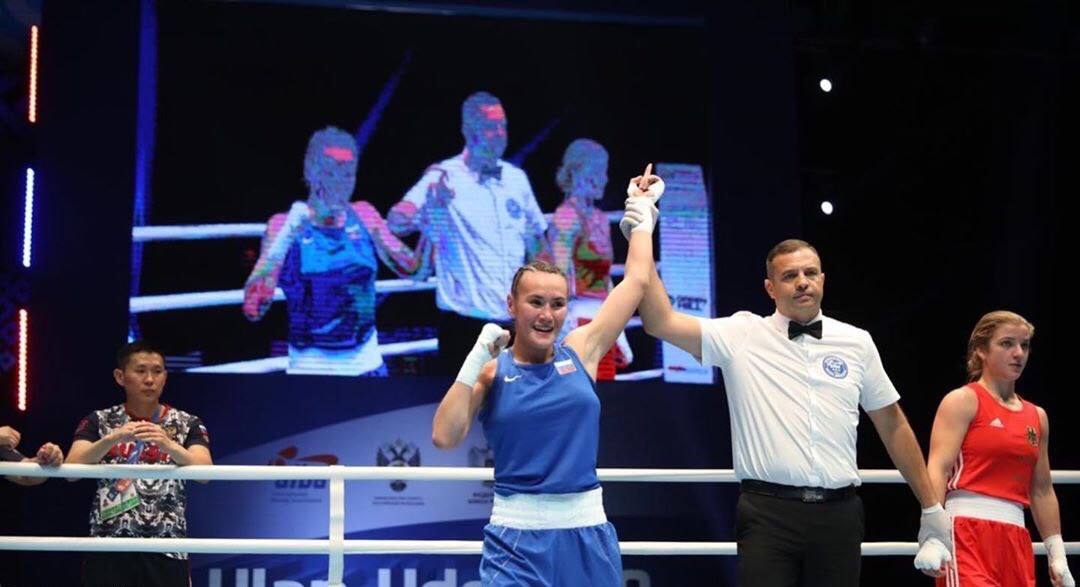 There was joy for the hosts as Liudmila Vorontsova recorded a unanimous victory against Ramona Graeff of Germany ©AIBA