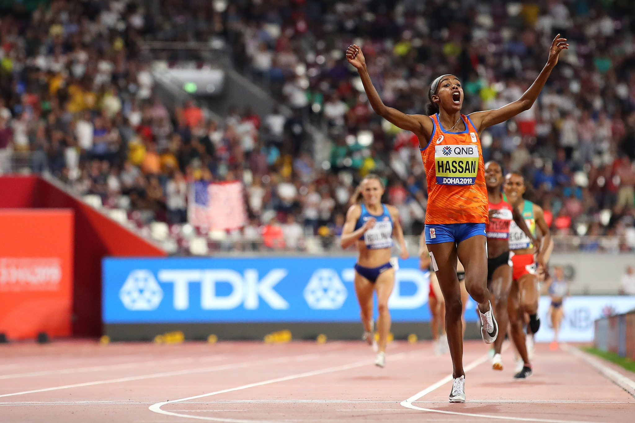 Sifan Hassan of The Netherlands completed a unique double by winning the 1,500 metres to add to the 10,000m she had won earlier in the Championships ©Getty Images
