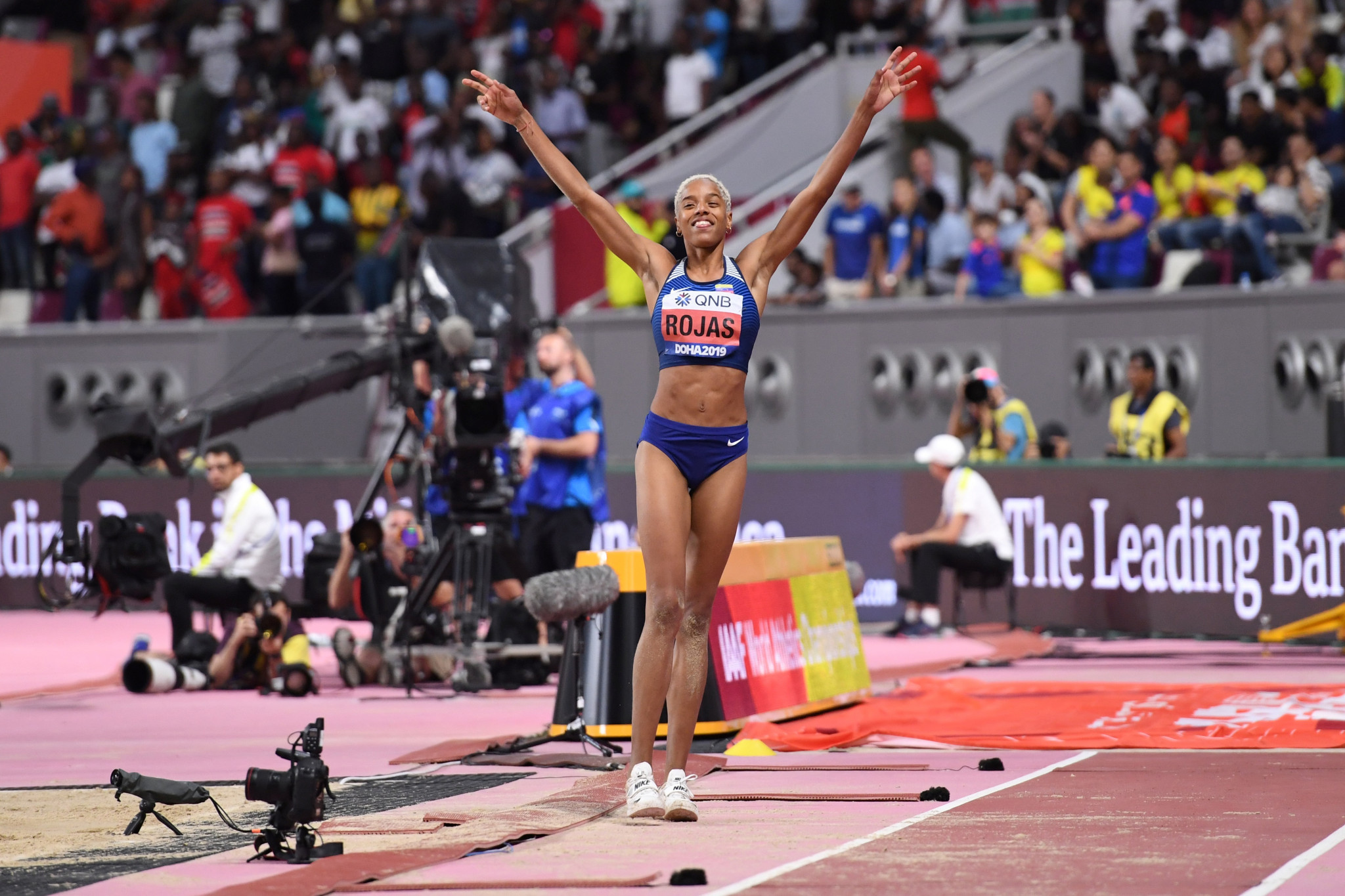 Venezuela's Yulimar Rojas celebrates winning the gold medal in the women's triple jump ©Getty Images