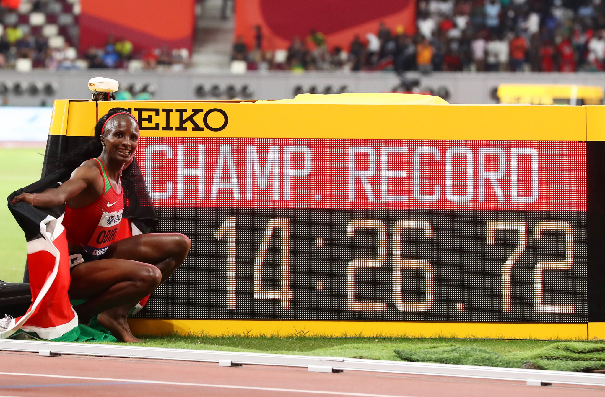 Hellen Obiri of Kenya set a Championship record when winning the women's 5,000m ©Getty Images