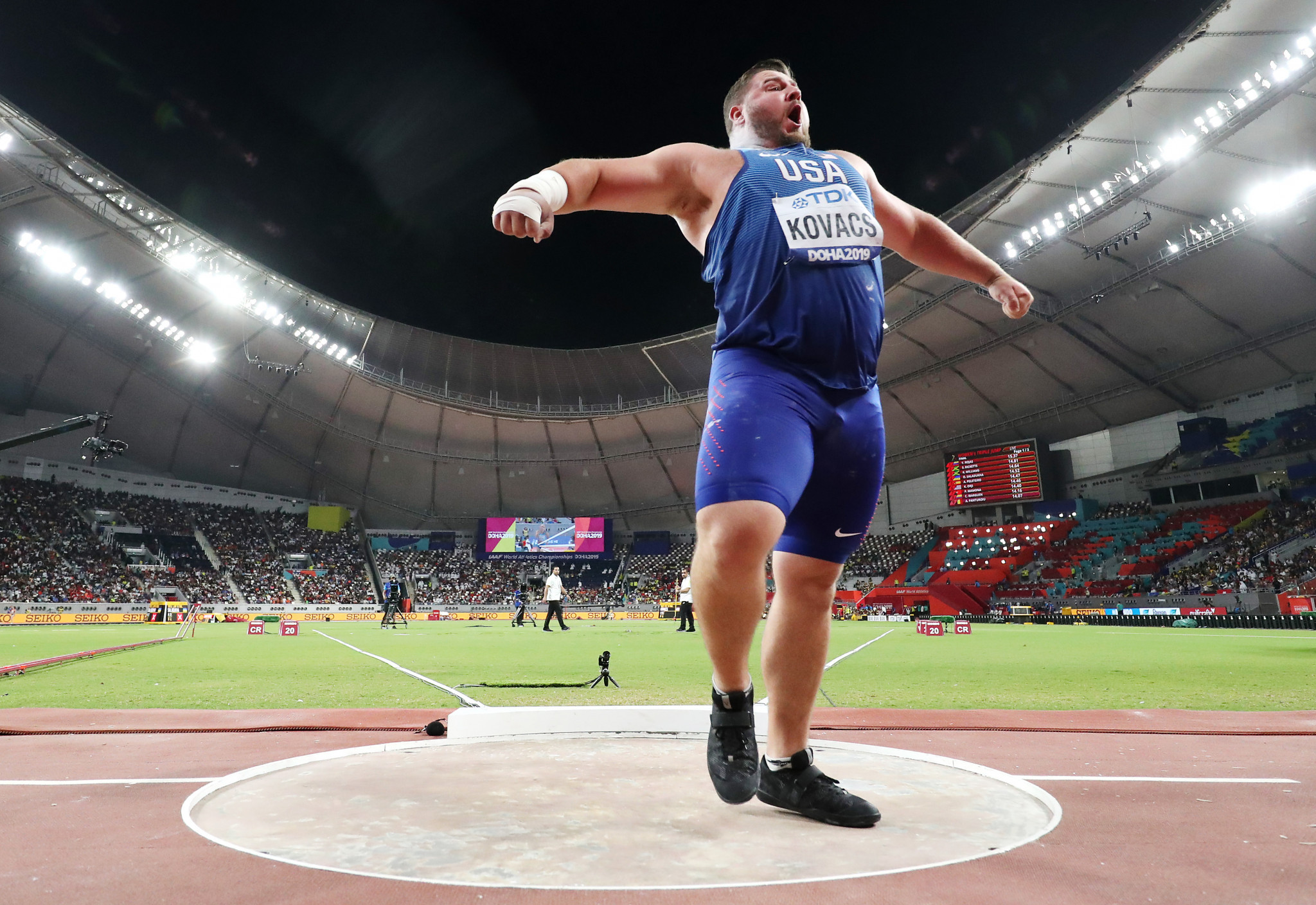 Joe Kovacs regained his world shot put title with a last effort of 22.91m - the third best ever recorded - to win a titanic battle in which the top three all finished within one centimetre of each other ©Getty Images