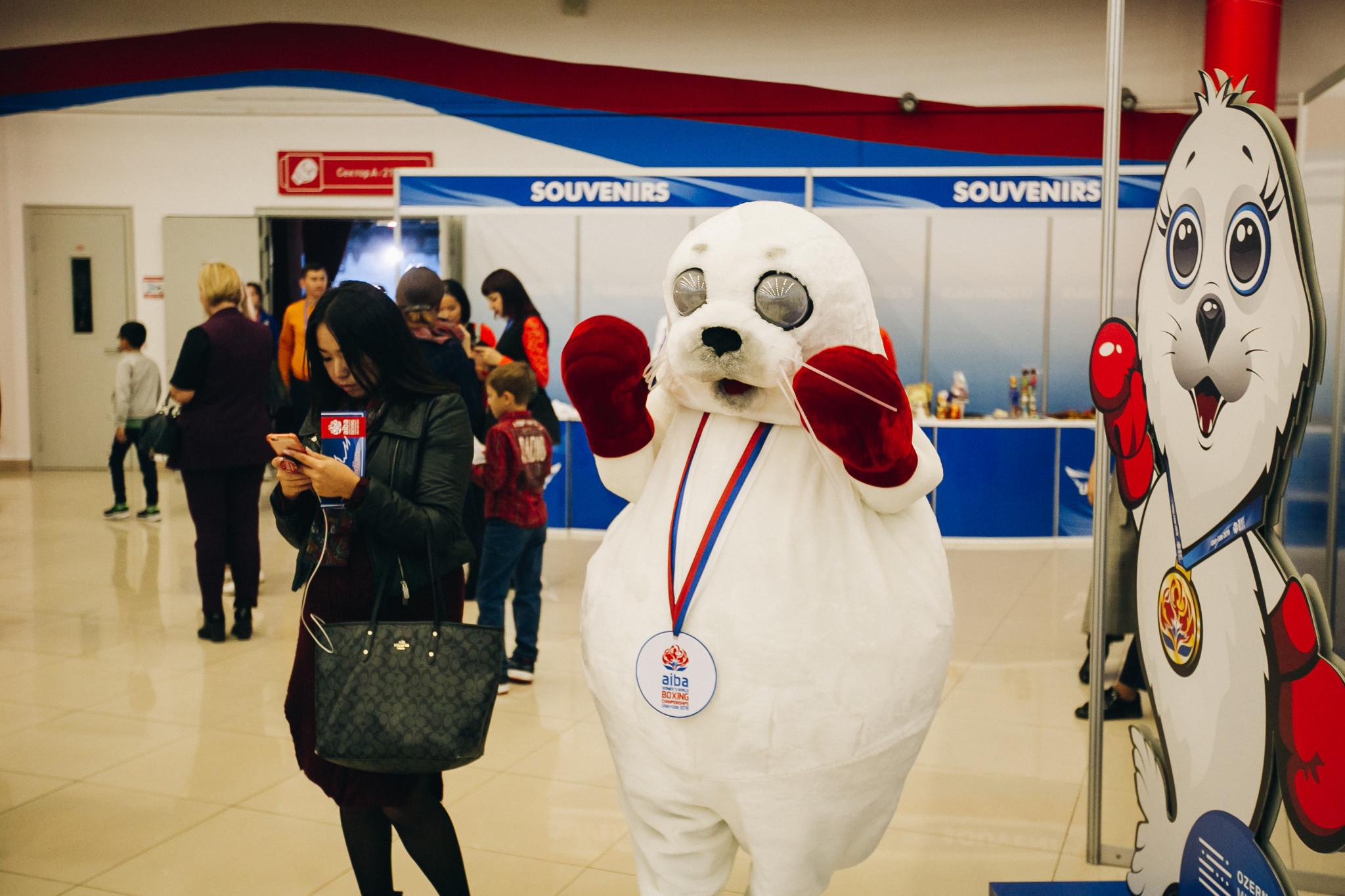 Baikalochka the seal was on hand to greet fans ©AIBA