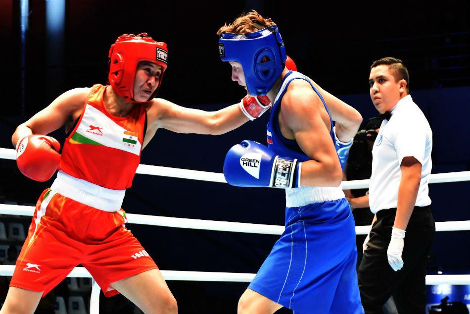 Local boxer Natalia Shadrina was up against Indian veteran Laishram Sarita Devi ©AIBA