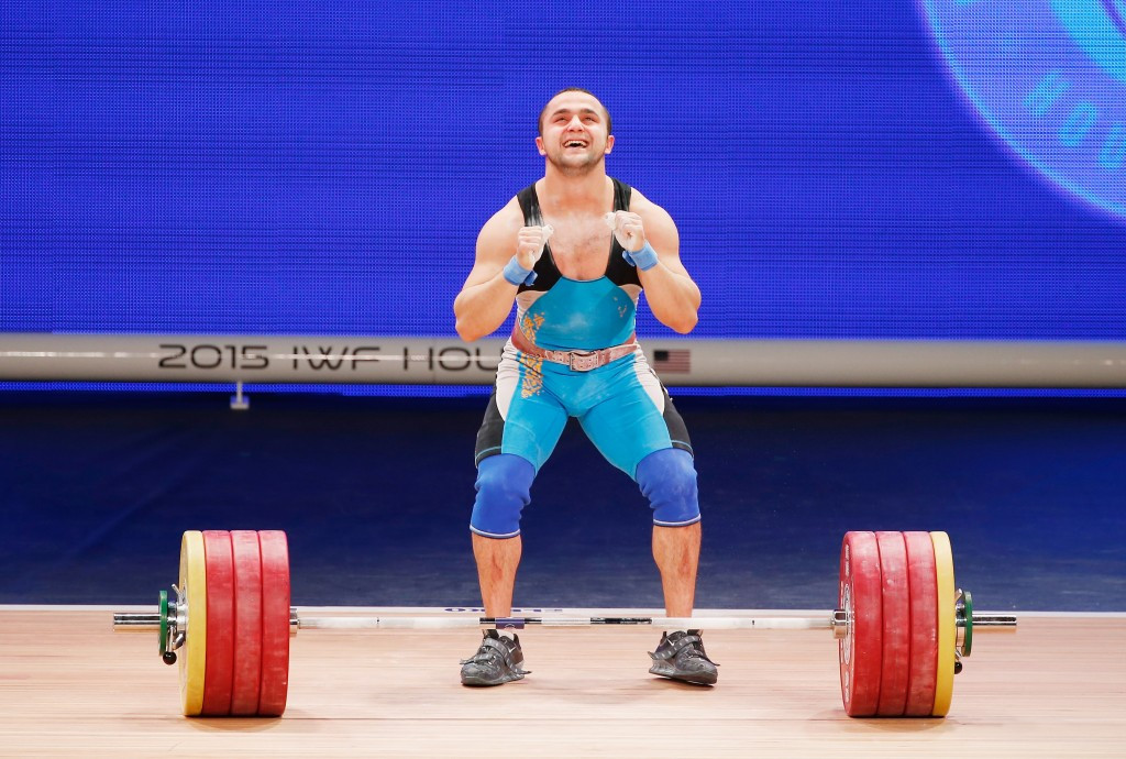 Kazakhstan's Nijat Rahimov claimed the men's 77 kilogram overall title after winning the clean and jerk ©Getty Images
