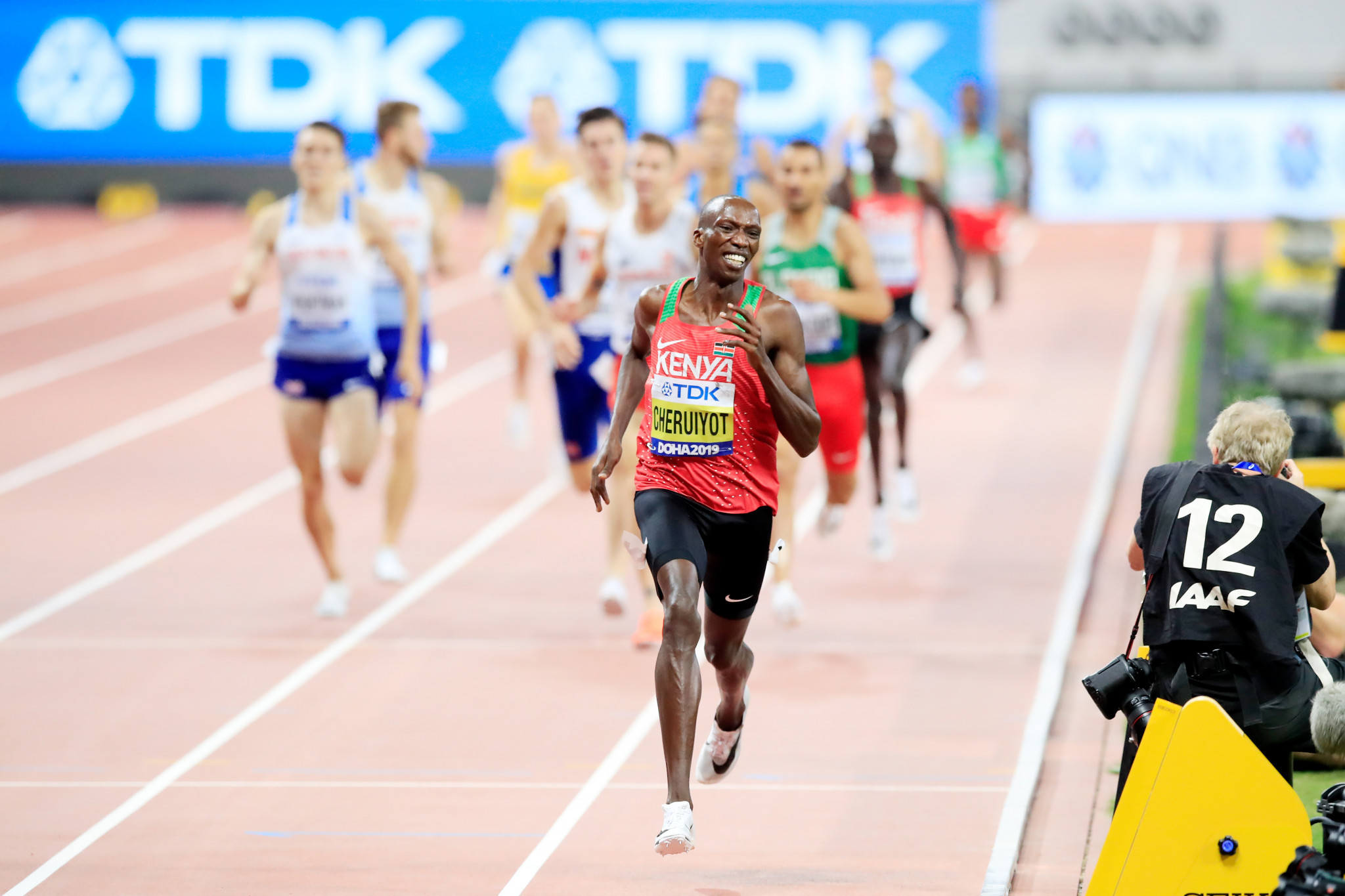 Timothy Cheruiyot of Kenya destroyed the rest of the field to win the men's 1,500m with an outstanding display of front-running ©Getty Images