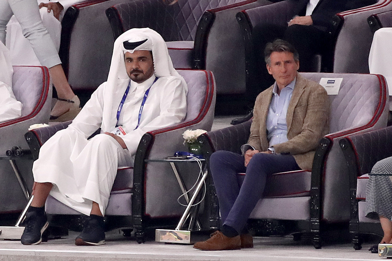 The Qatar Olympic Committee and IAAF Presidents Sheikh Joaan bin Hamad Al Thani and Sebastian Coe watch the last day of competition in the Khalifa International Stadium ©Getty Images