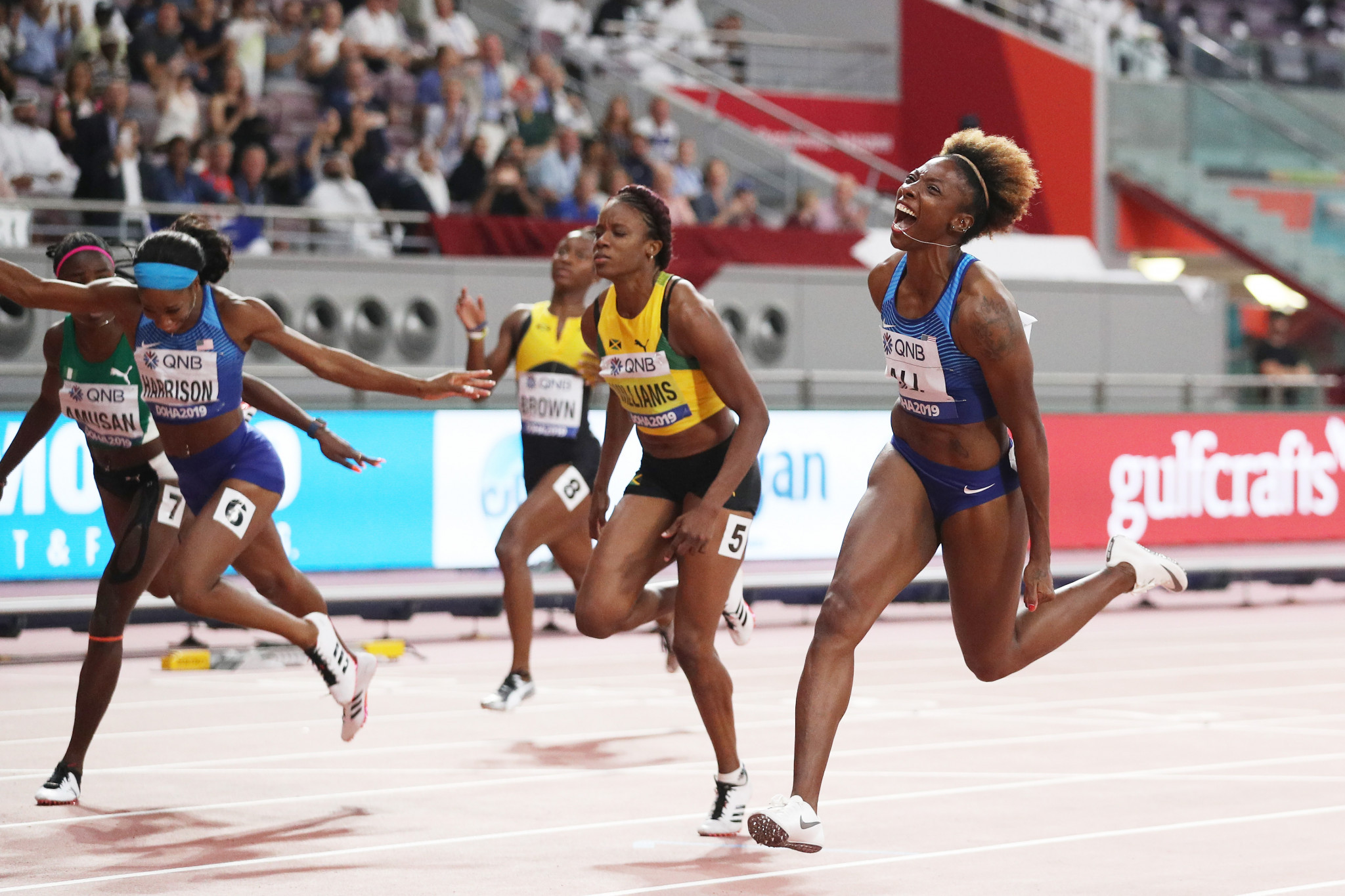 Nia Ali of the United States was a surprise winner of the women's 100m hurdles ©Getty Images
