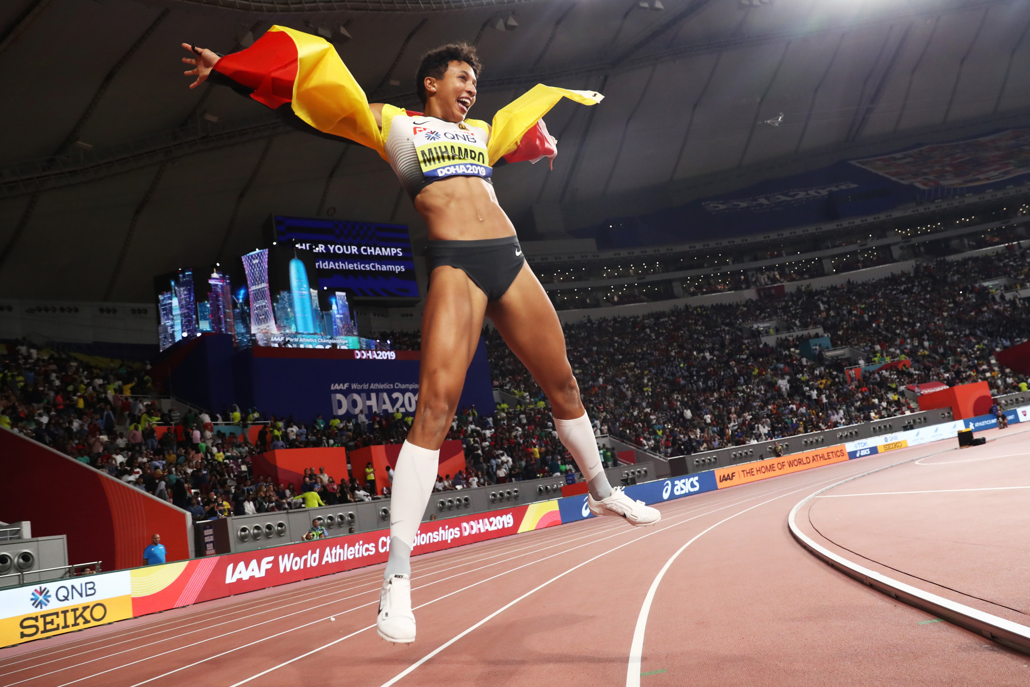Germany's Malaika Mihambo leaps for joy after a fantastic performance to win the women's long jump ©Getty Images