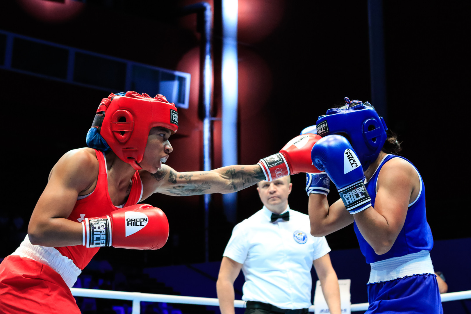 Ravven Brown recorded a unanimous result against Paola Calderon Munoz of Colombia to also progress ©AIBA