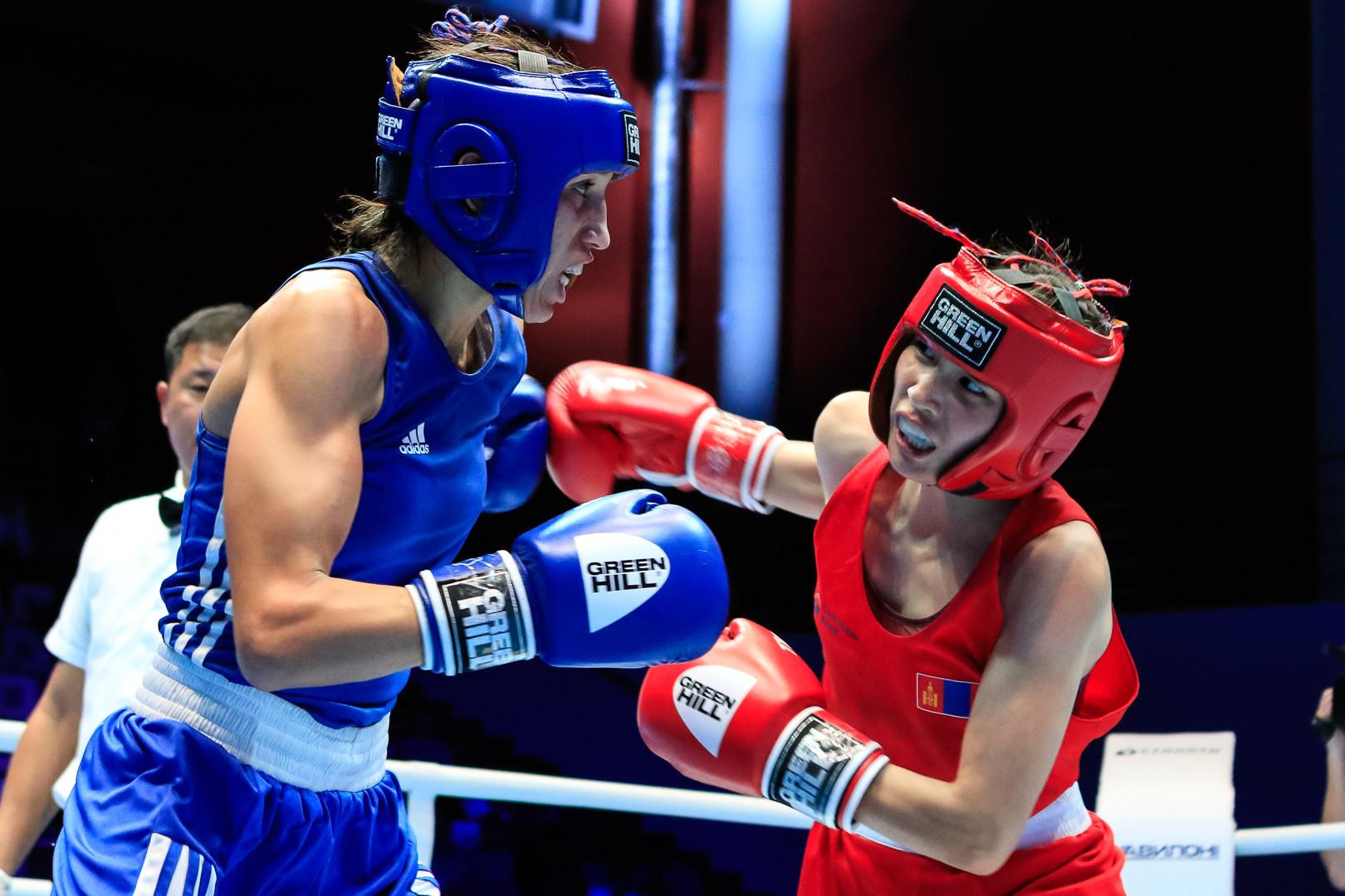 Rabab Cheddar of Morocco defeated Mungunsarn Balsan of Mongolia by the same score ©AIBA