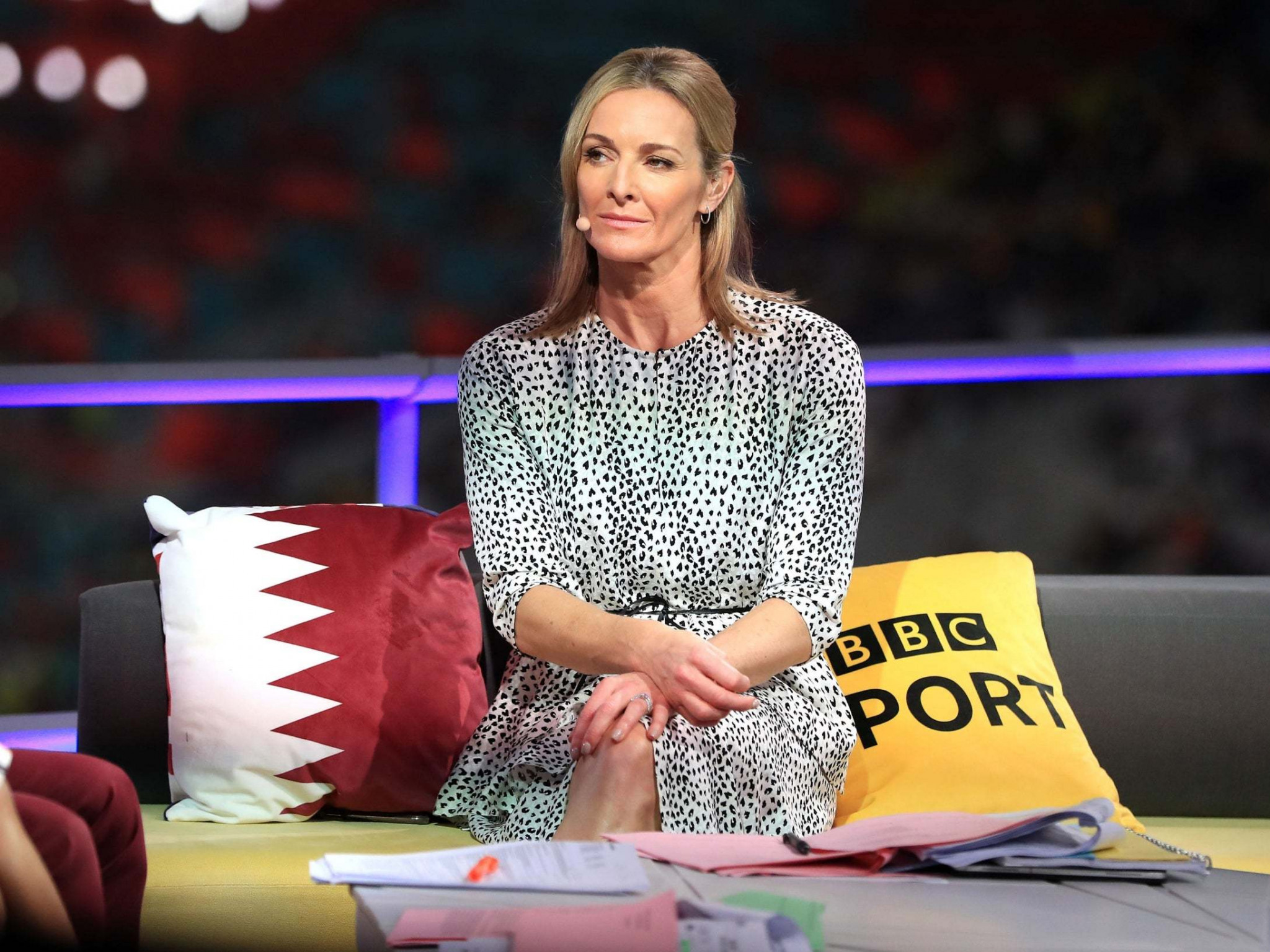 BBC presenter Gabby Logan was criticised by IAAF President Sebastian Coe for drawing attention to the poor crowds during the early stages of the World Championships in Doha ©BBC