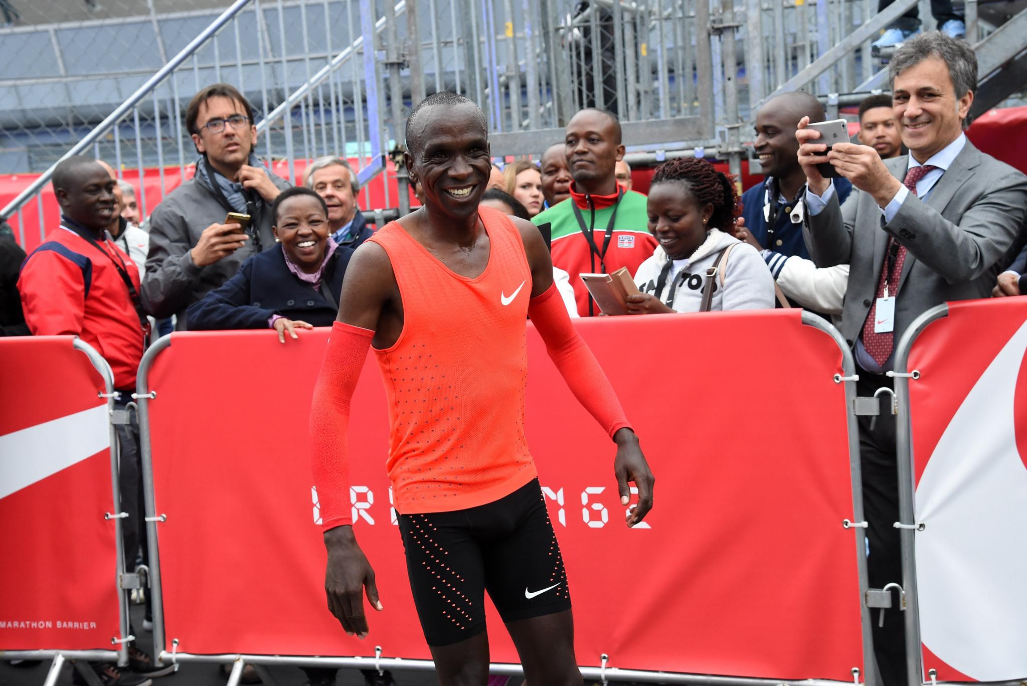 Kenyan marathon runner Eliud Kipchoge will attempt to duck under two hours in Vienna ©Getty Images