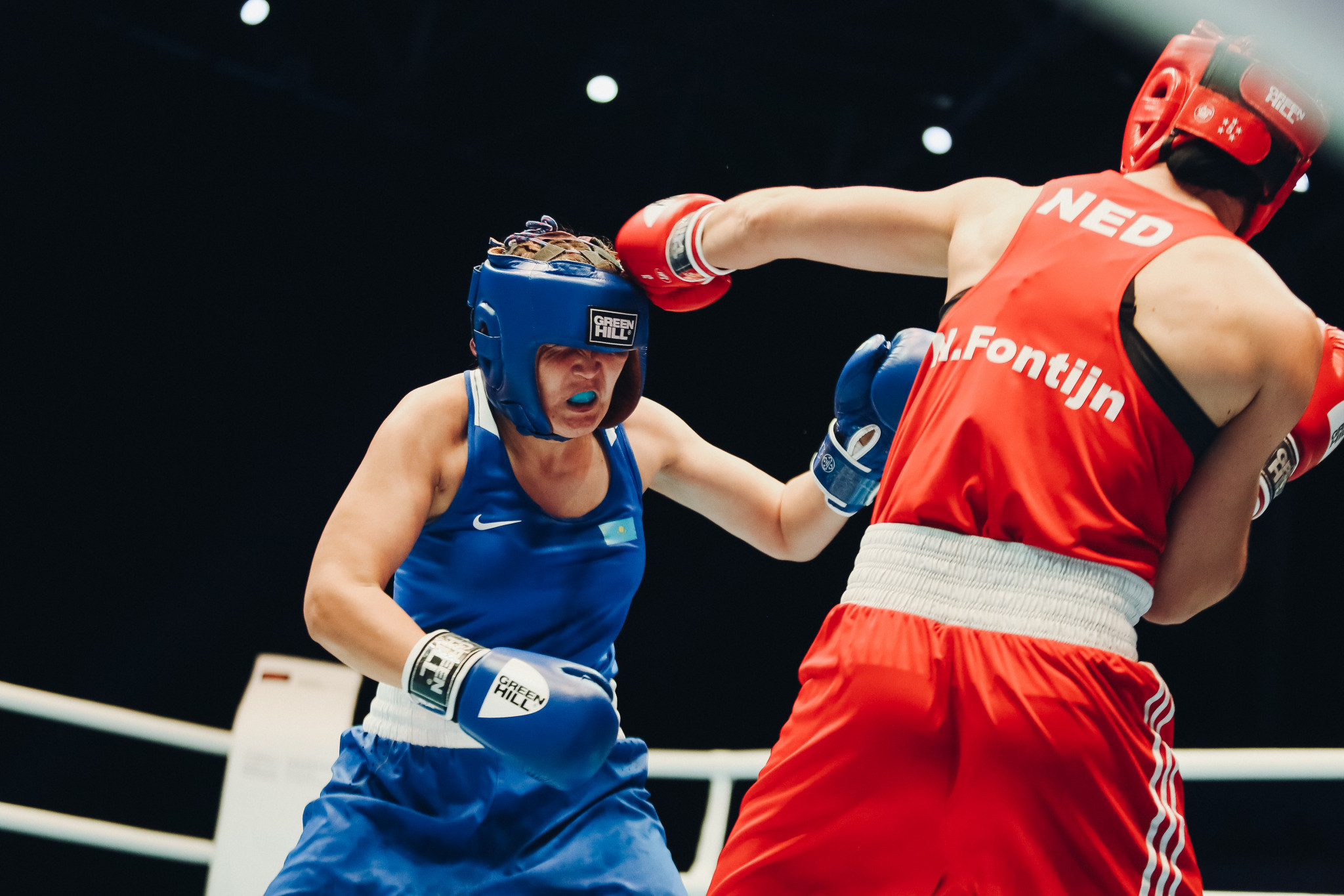 Rio 2016 Olympic silver medallist Nouchka Fontijn of the Netherlands was another unanimous victor, getting past Akerke Bakhytzhan of Kazakhstan ©AIBA