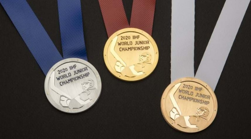 The 2020 International Ice Hockey Federation World Junior Championship medals have been designed around Ostrava and Třinec's industrial roots ©IIHF