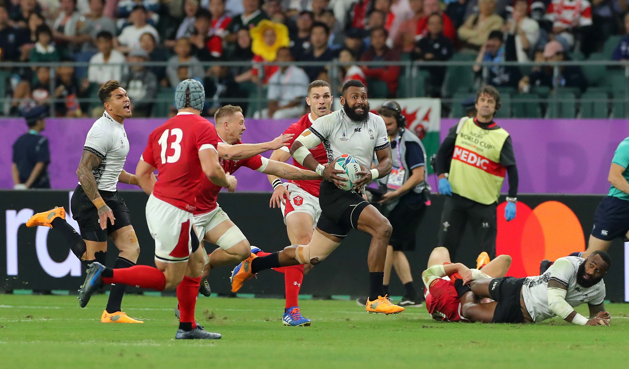 Fiji's backs caused the Welsh defence problems all game ©Getty Images
