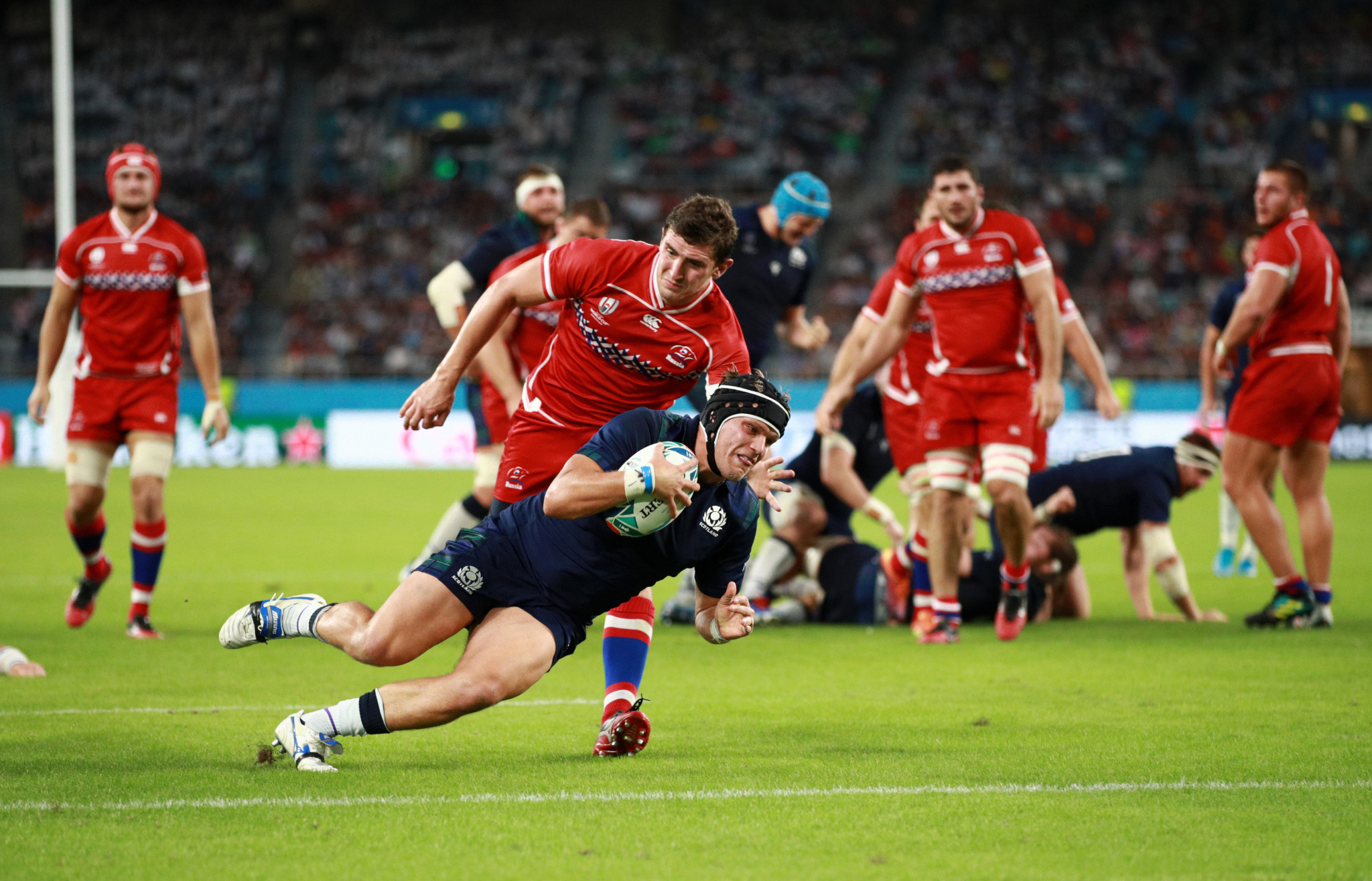 Scotland ran in nine tries against Russia ©Getty Images