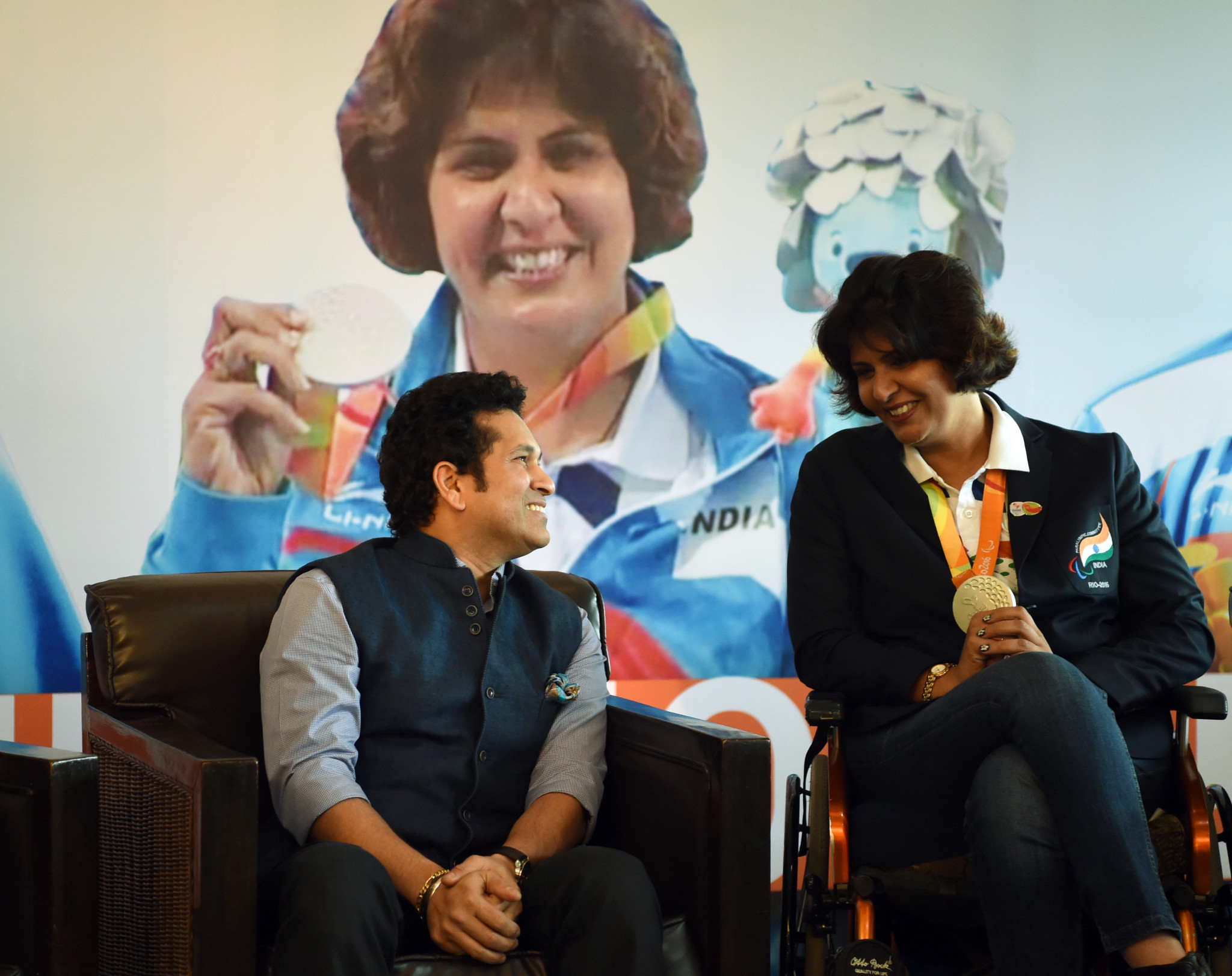 Deepa Malik, right, hopes to become Paralympic Committee of India President ©Getty Images