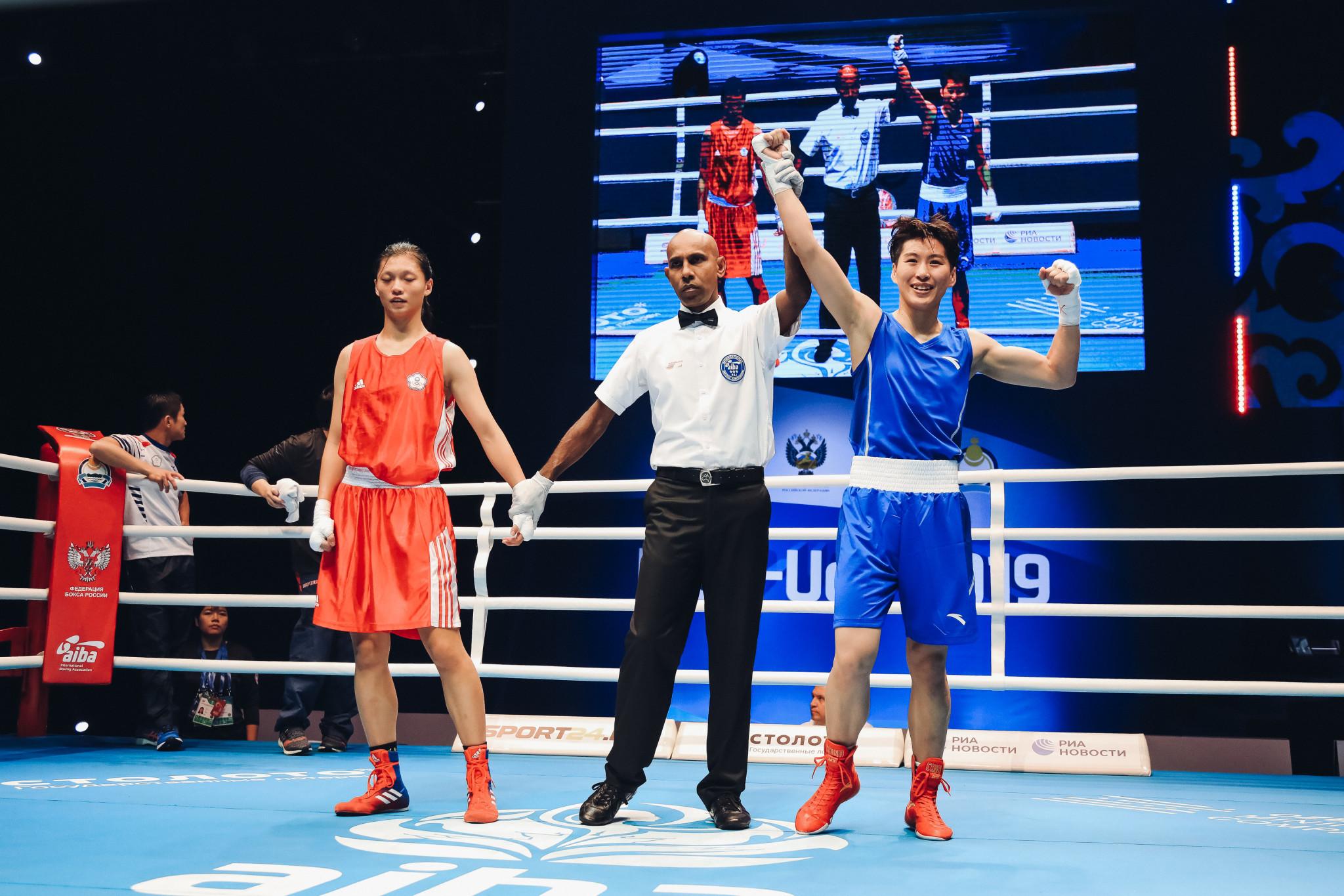 She lost unanimously to Wang Cong of China ©AIBA