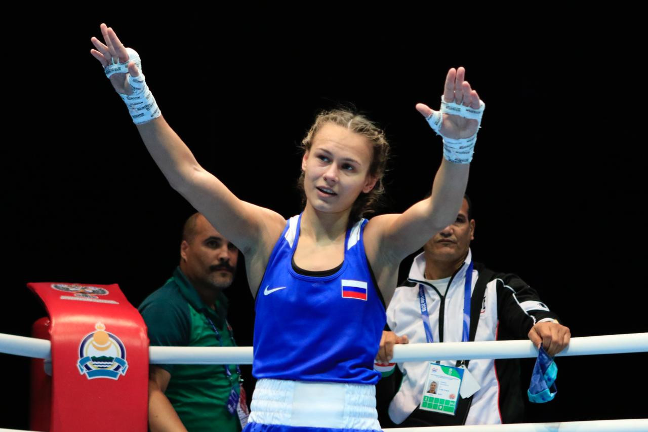 Liudmila Vorontova got past Jemyma Betrian of the Netherlands in the featherweight division ©AIBA