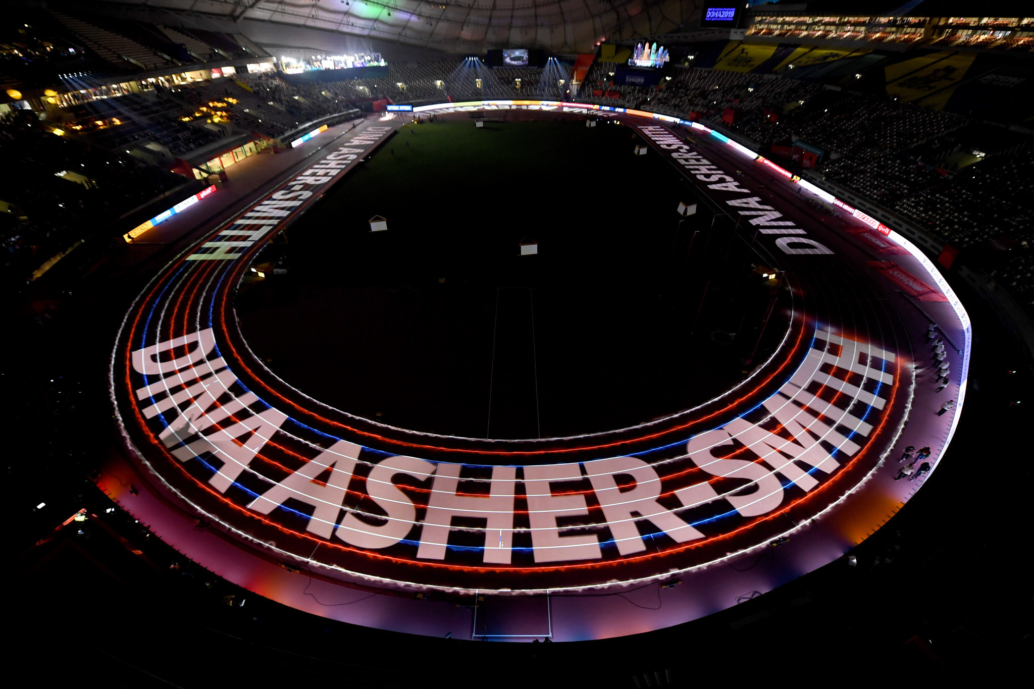 Event presentation at the IAAF World Championships in Doha included putting up all the finalists names in lights ©Getty images