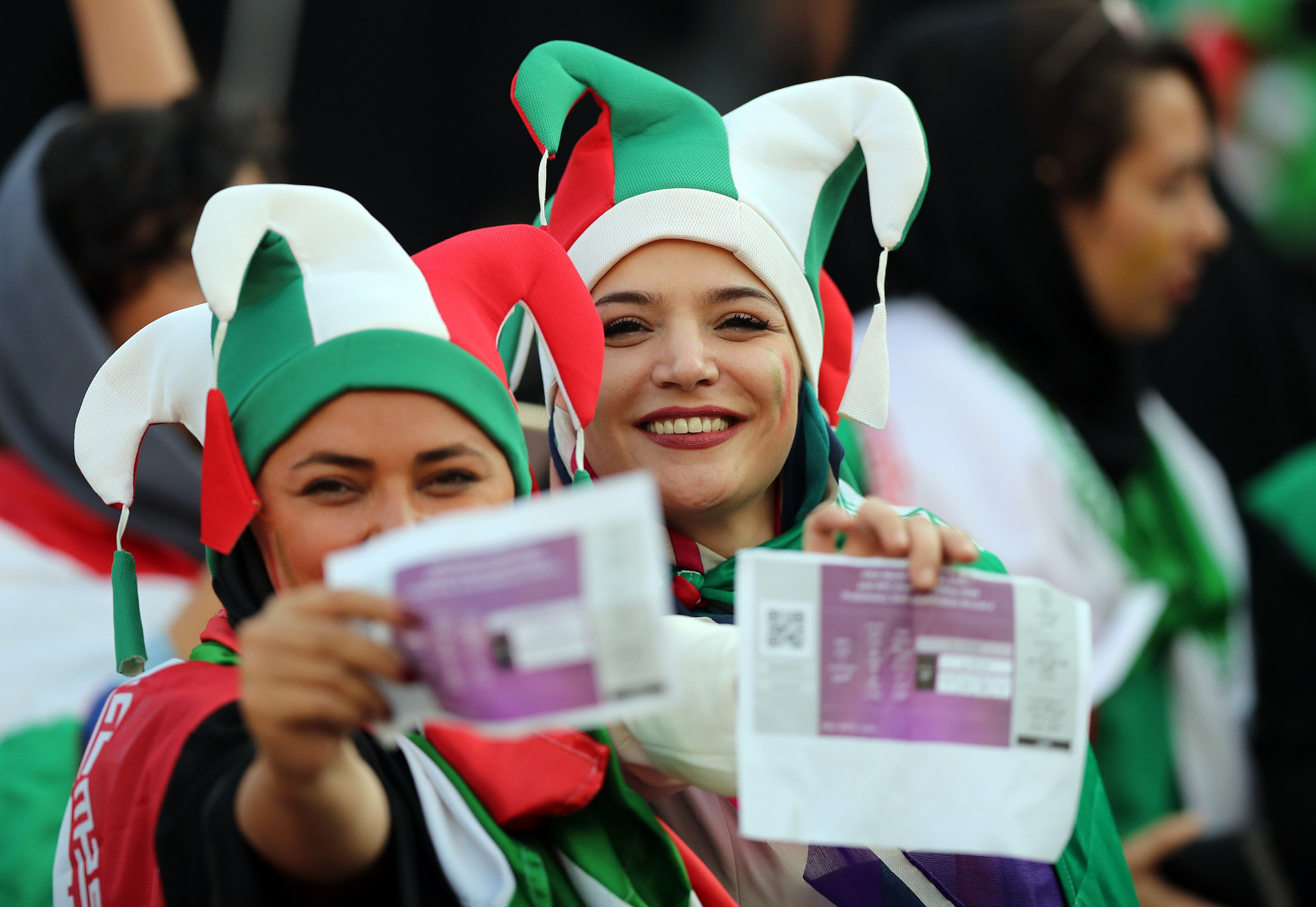 Around 4,600 women were allowed to watch the FIFA 2022 World Cup qualifying match between Iran and Cambodia in Tehran, marking a break in a 40-year-ban ©Getty Images