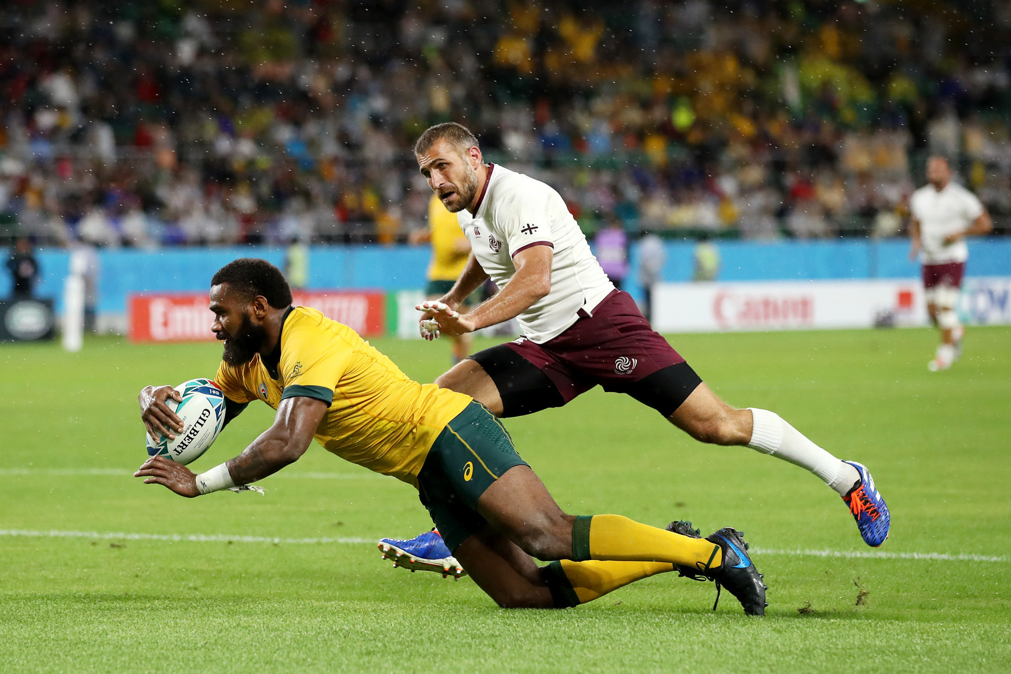 Marika Koroibete's try was one of the high points for Australia ©Getty Images