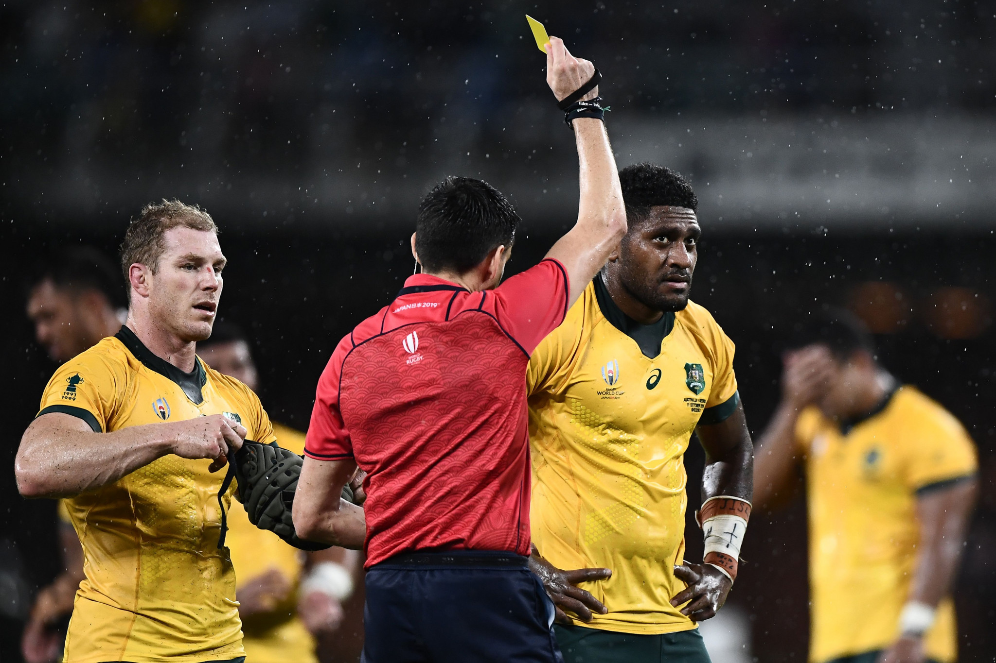Isi Naisarani was yet another yellow-card victim for Australia and could have no arguments ©Getty Images