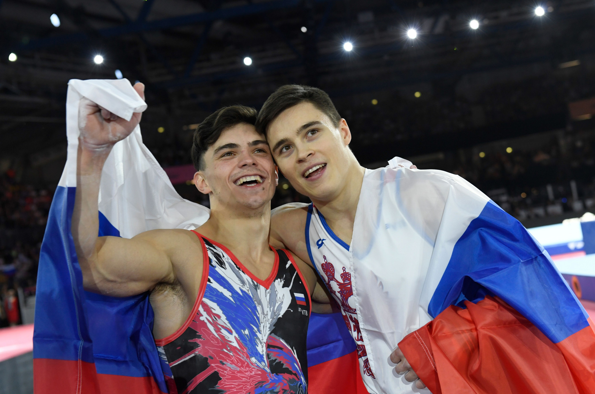 Nikita Nagornyy, right, claimed all-around gold ahead of Russian compatriot Artur Dalaloyan in Stuttgart ©Getty Images