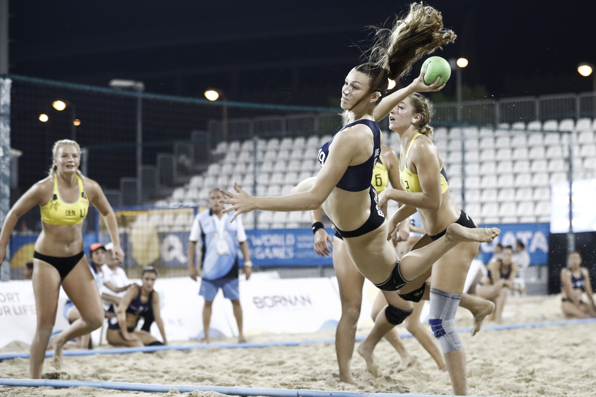 Flying goals were a feature of the handball competition ©ANOC