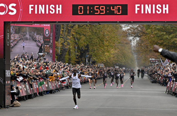 Eliud Kipchoge sets a historic mark for the marathon at the INEOS 1:59 Challenge in Vienna today ©Getty Images