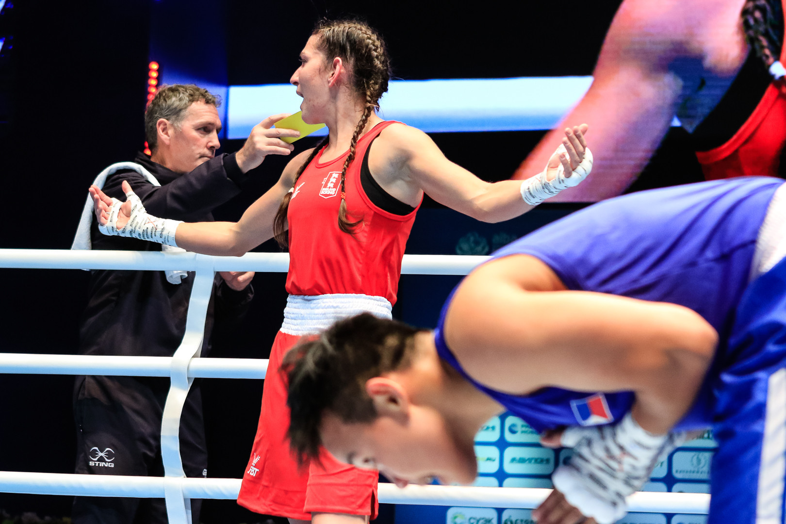 Karriss Artingstall of England was also unhappy with the result of her featherweight bout with Nesthy Petecio of the Philippines ©AIBA