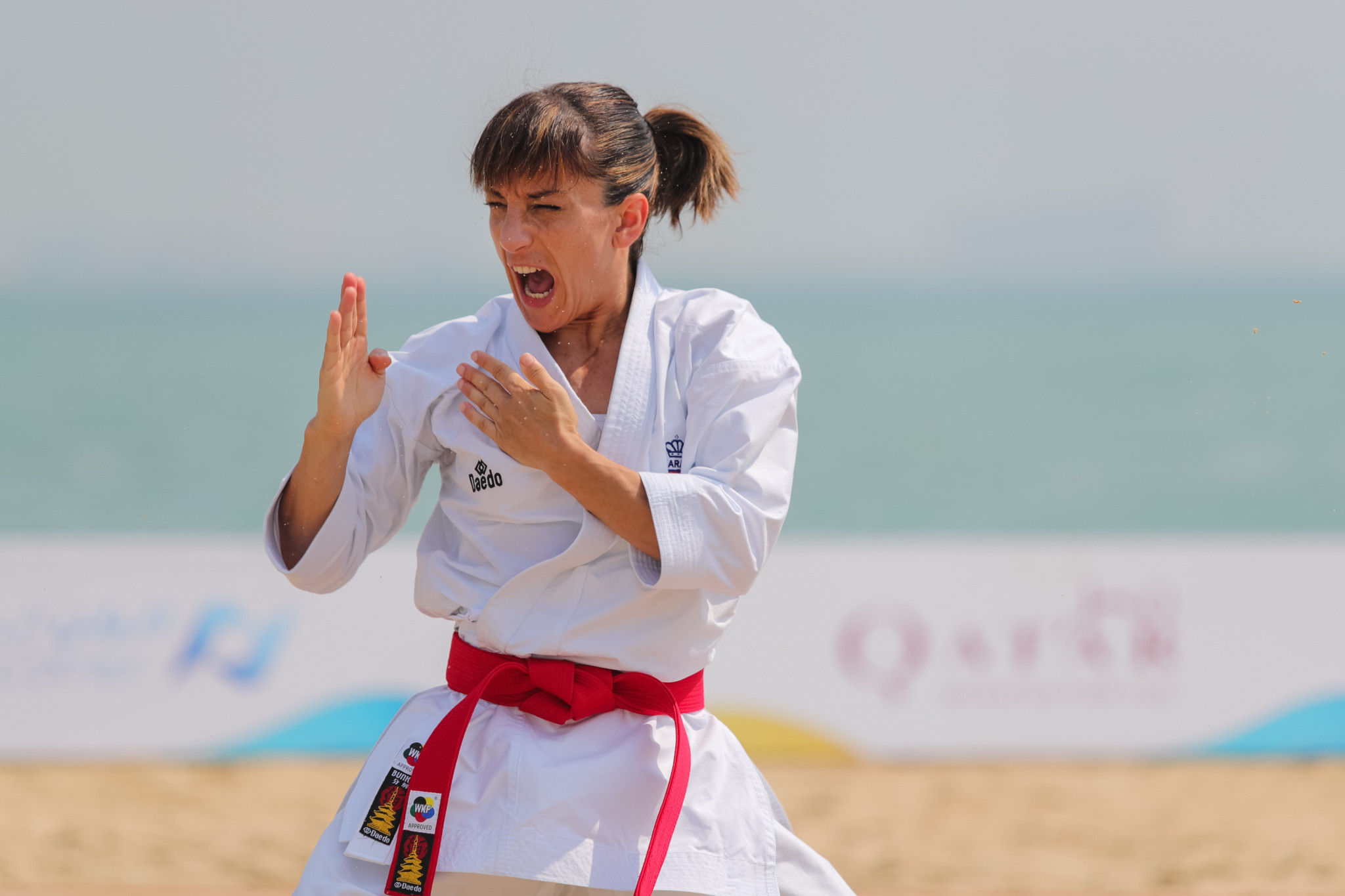 Kata karate competition was held for the first time on sand as action began ©ANOC World Beach Games