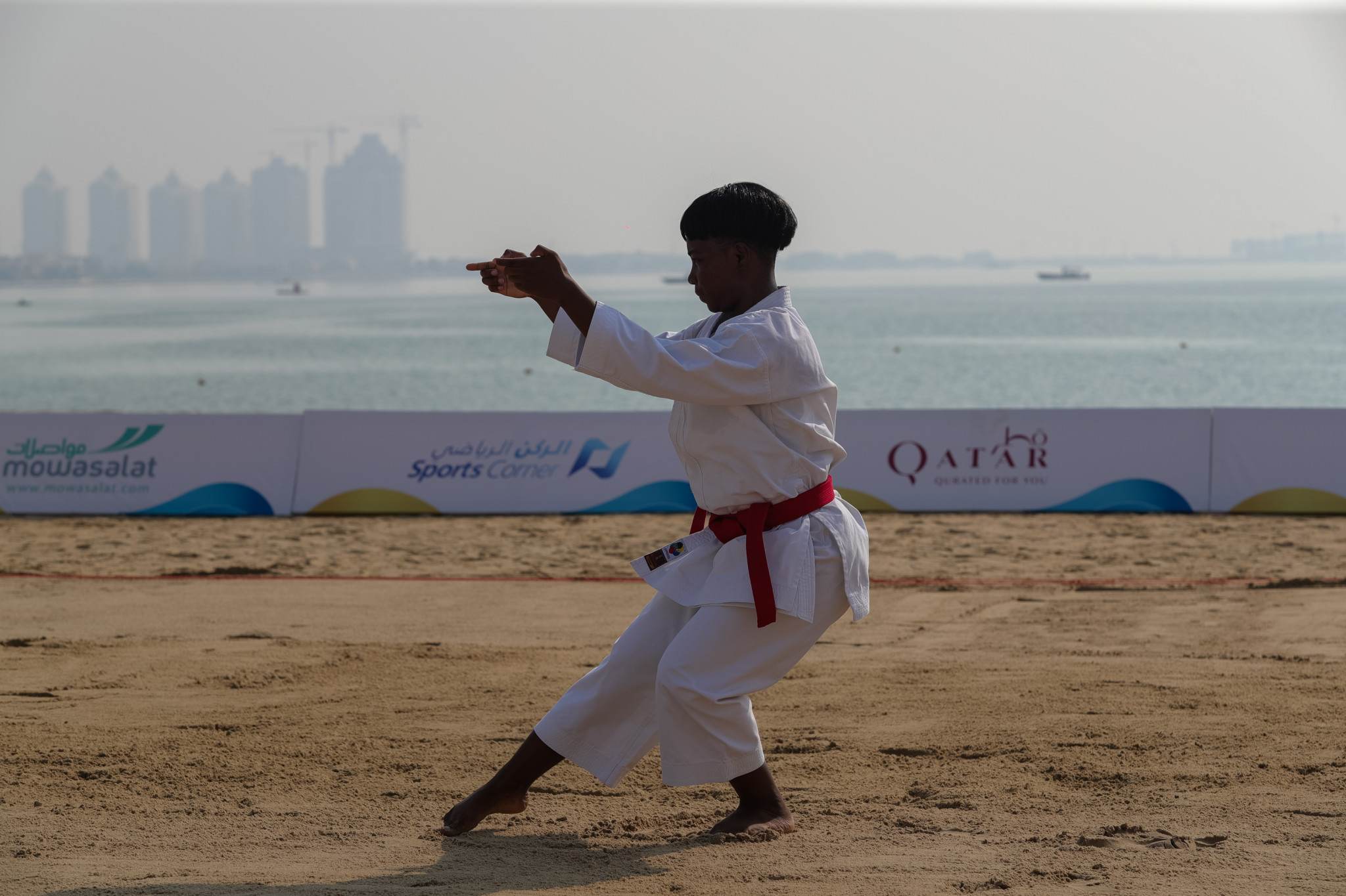 Preliminary action took place today in the  kata karate at the ANOC World Beach Games before the medals are awarded tomorrow with Spain's Damian Quintero and Sandra Sanchez favourites ©ANOC World Beach Games