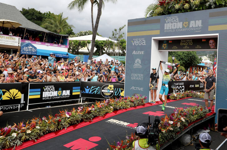 Anne Haug celebrates a first Ironman women's world title for herself and for Germany at Kona ©Getty Images