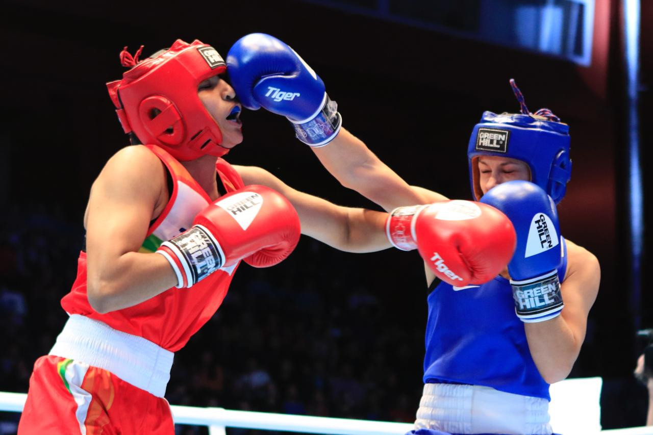 Ekaterina Paltceva was the first to triumph, defeating Manju Rani of India 4-1 in the light flyweight final ©AIBA