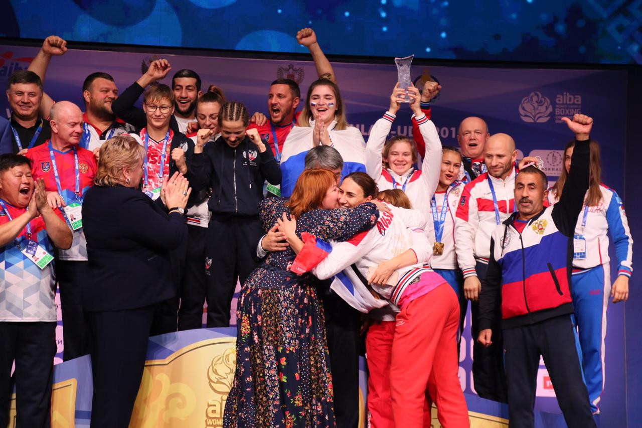 The hosts celebrated their three gold medals, one silver and two bronze ©AIBA