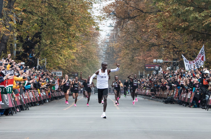 Eliud Kipchoge centre stage on Saturday, with a supportive cast behind him and an appreciative crowd all around him - but has his glorious part affected marathon running, as it were, going forward? ©Getty Images