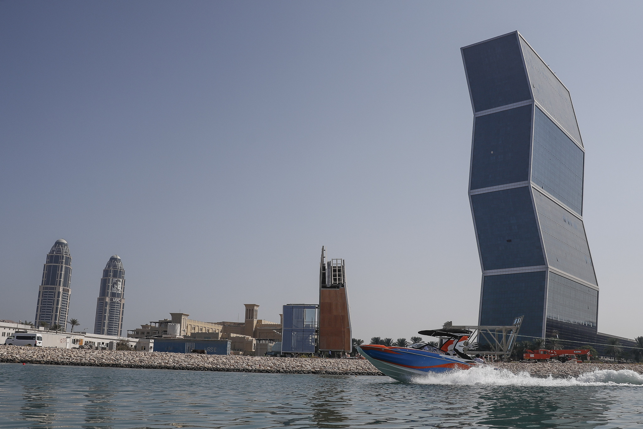 Doha provided a spectacular backdrop for the wakeboarding competition ©ANOC World Beach Games