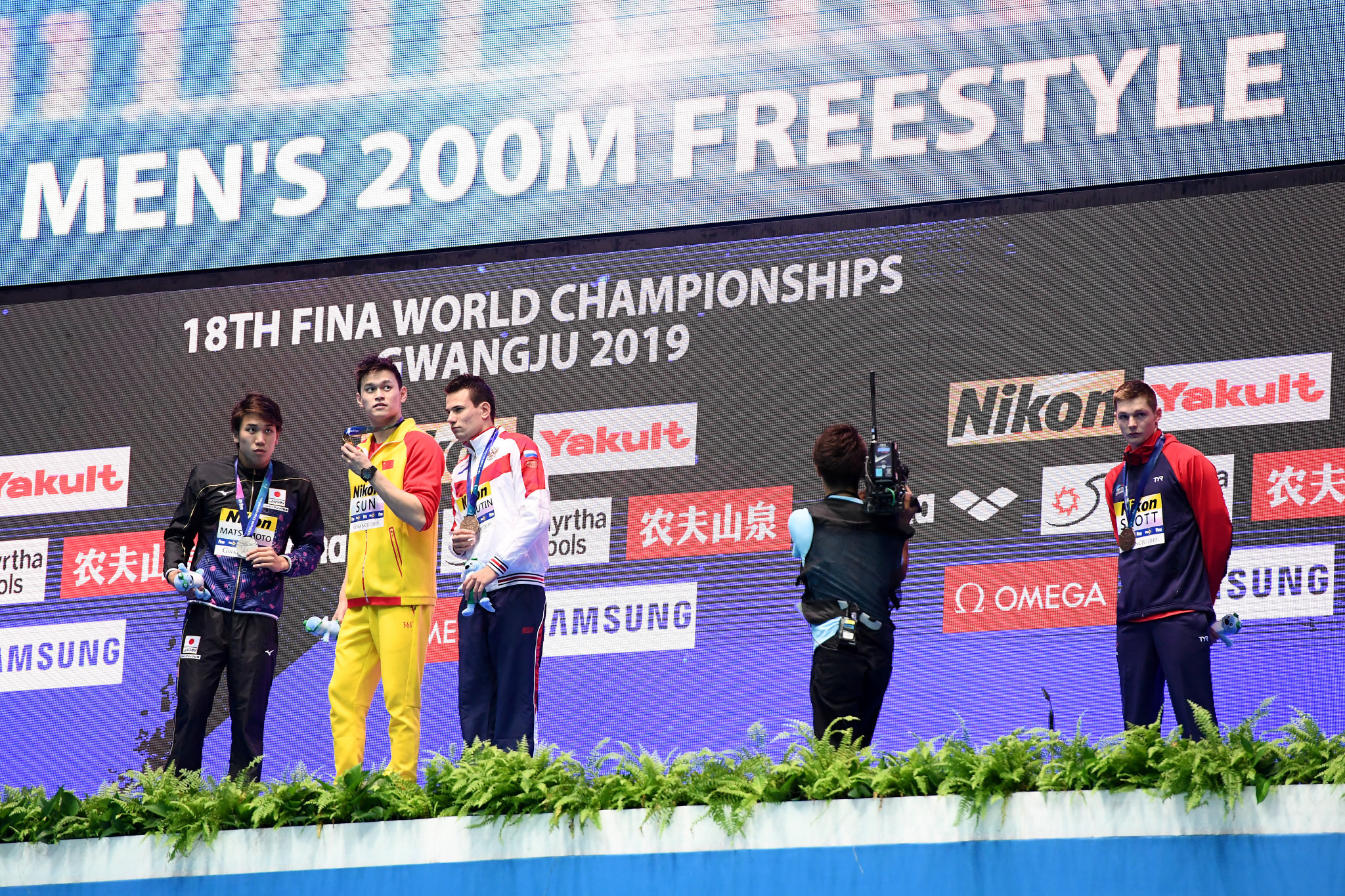 Sun Yang's rivals, including Britain's Duncan Scott, right, protested at medal ceremonies during the FINA World Aquatics Championships in Gwangju about the fact he had escaped a ban for allegedly destroying a blood sample ©Getty Images