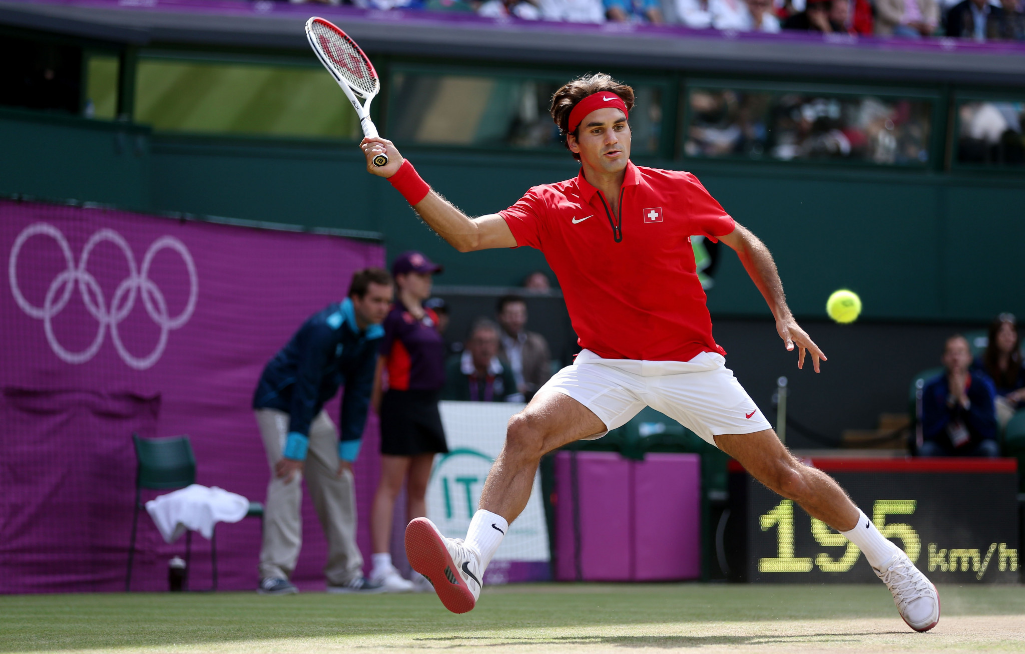 Roger Federer's best performance in the singles at the Olympics was a silver at London 2012 ©Getty Images