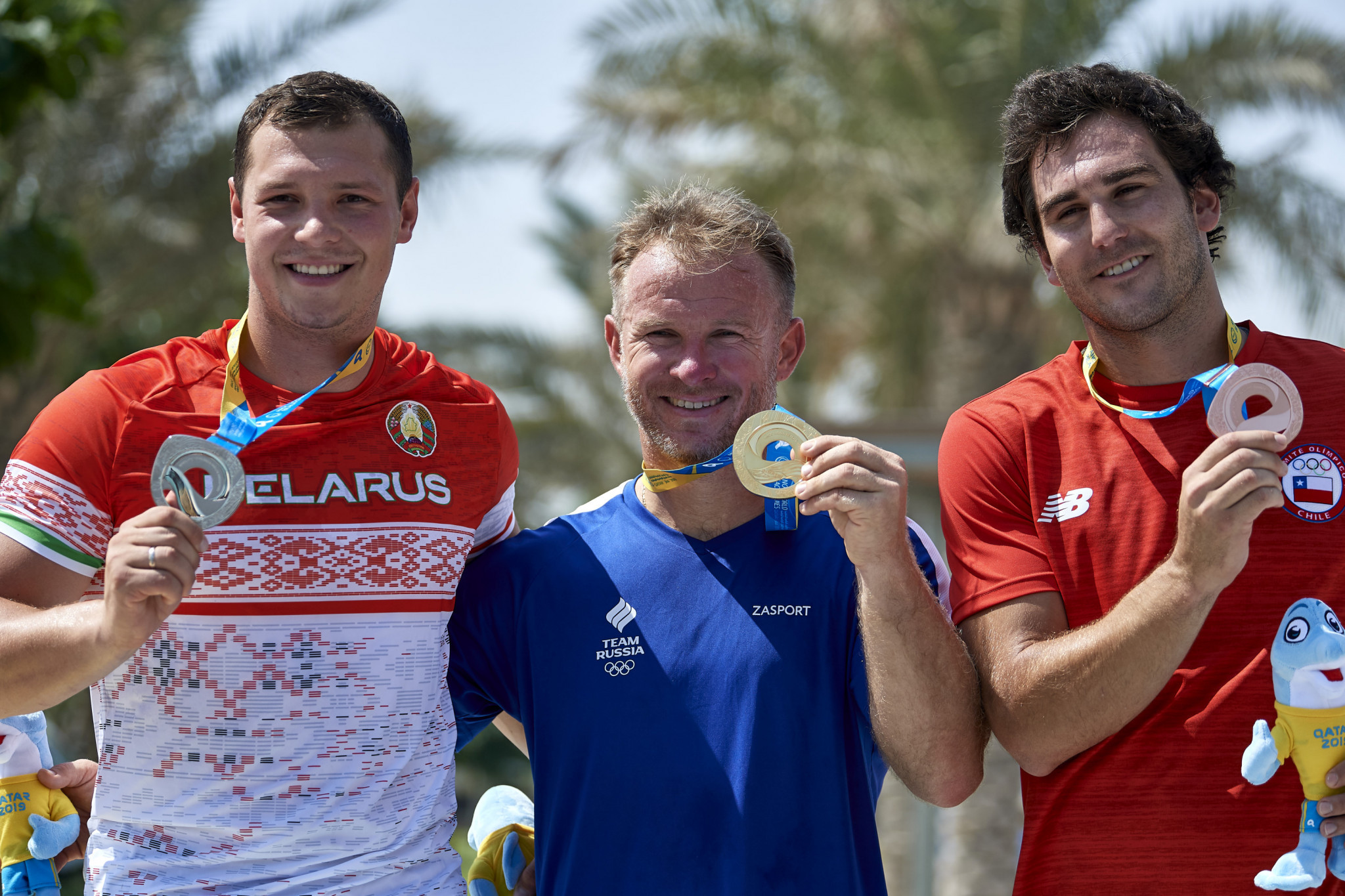 Forty-four-year-old Vladimir Ryanzin won the men's waterski jump for Russia ©ANOC